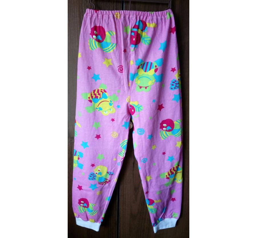 Пижама, Кулир (тонкий трикотаж хлопок 100%), на рост 116-122 см,  Розовая с рисунком, Пижама снята с ВИТРИНЫ
