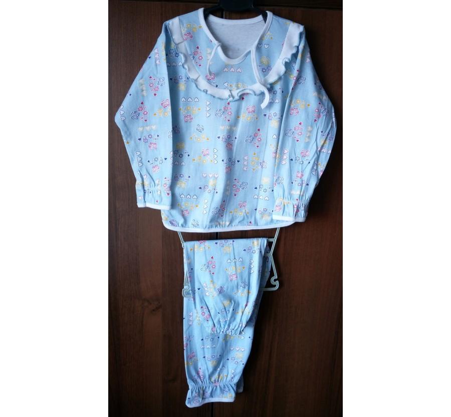 """Пижама """"Мальвина"""", Кулир (тонкий трикотаж хлопок 100%), на рост 110 см, Голубая с розовым рисунком"""
