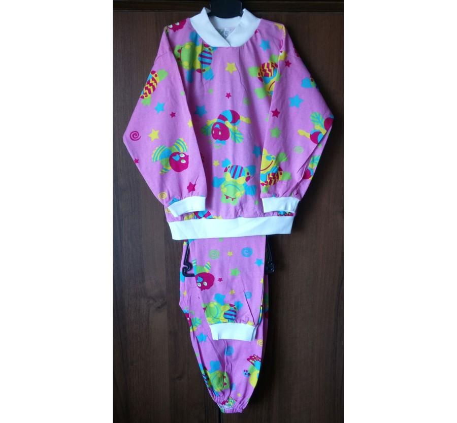 Пижама, Кулир (тонкий трикотаж хлопок 100%), на рост 116-122 см,  Розовая с рисунком