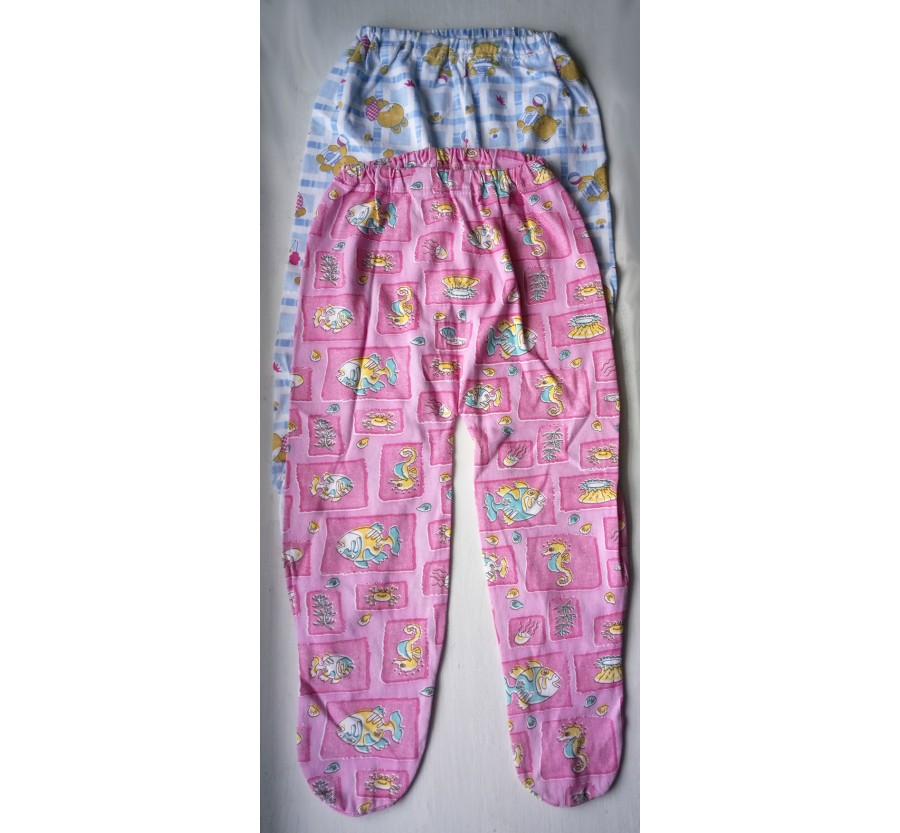 Ползунки на резинке, Кулир (тонкий Трикотаж хлопок 100%), 68 см, цвет Голубой, Розовый