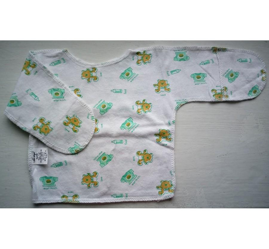 Распашонка ТМ Little angel, Кулир (тонкий Трикотаж хлопок 100%), 56 см, Белая с зелёным рисунком