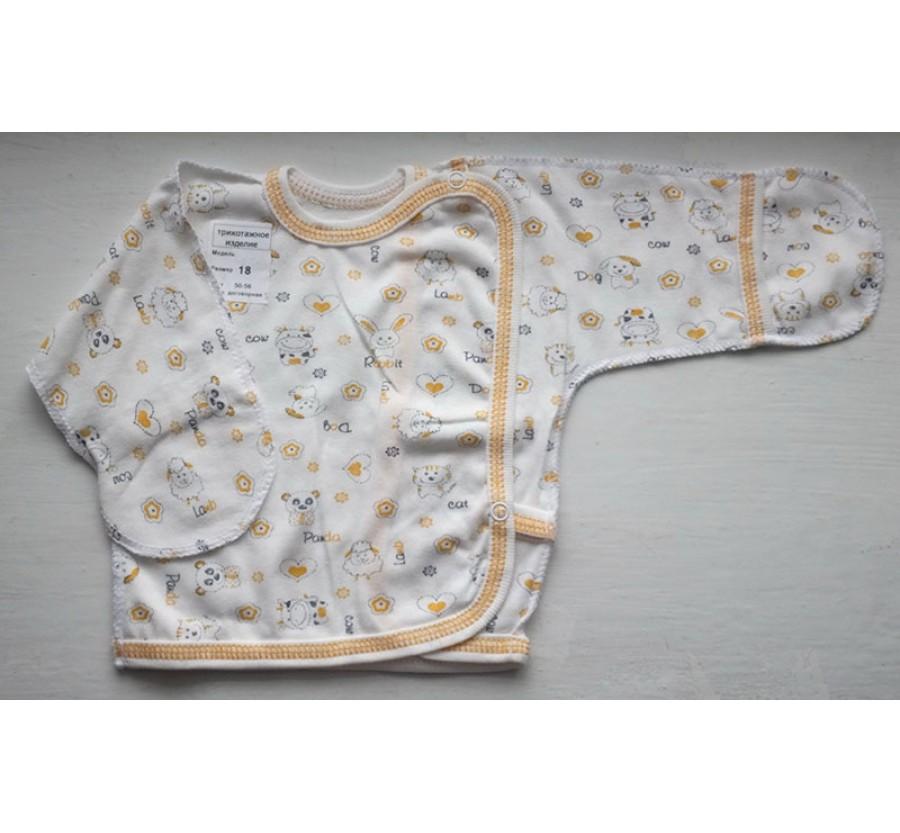 Распашонка на кнопках, Кулир (тонкий Трикотаж хлопок 100%), 56 см, Молочная с жёлтым рисунком