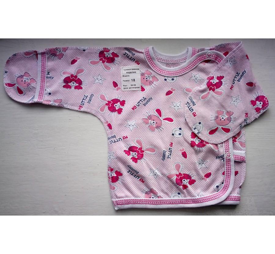 Распашонка на кнопках, Кулир (тонкий Трикотаж хлопок 100%), 56, 62 см, Розовая с рисунком