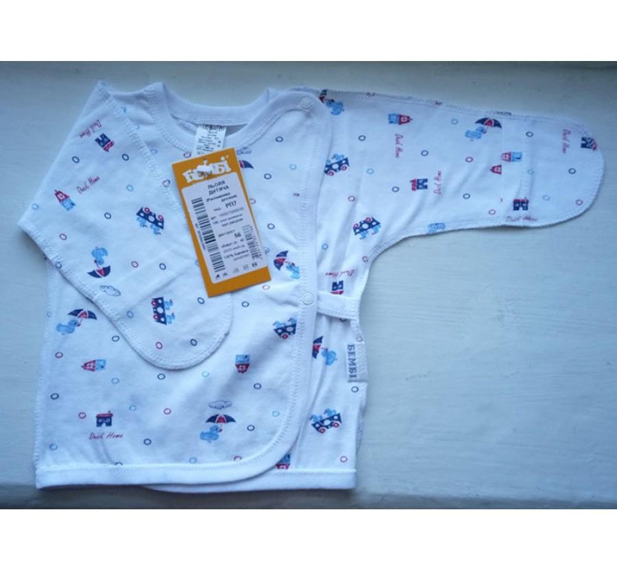 Распашонка Бемби РП7, Кулир (тонкий Трикотаж хлопок 100%), 56 см, Белая с голубым рисунком