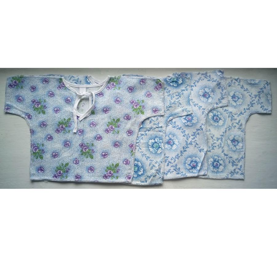 Распашонки с коротким рукавом, на завязках, Ситец ( Хлопок 100%), 56 см, 62 см, цвет Белый с голубым  рисунком