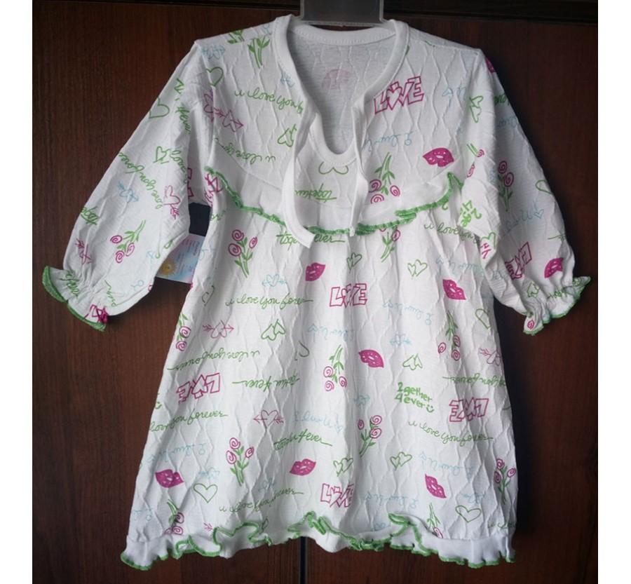 Ночные сорочки ТМ Маленьке сонечко, Кулир - жатка (хлопок 100%), с розовым рисунком на рост 86 см, с голубым рисунком на рост 92 см