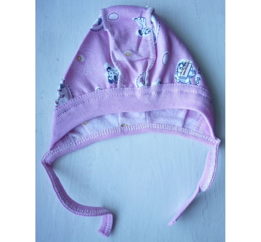 Шапочка на завязках, Байка 56 см, цвет Розовый