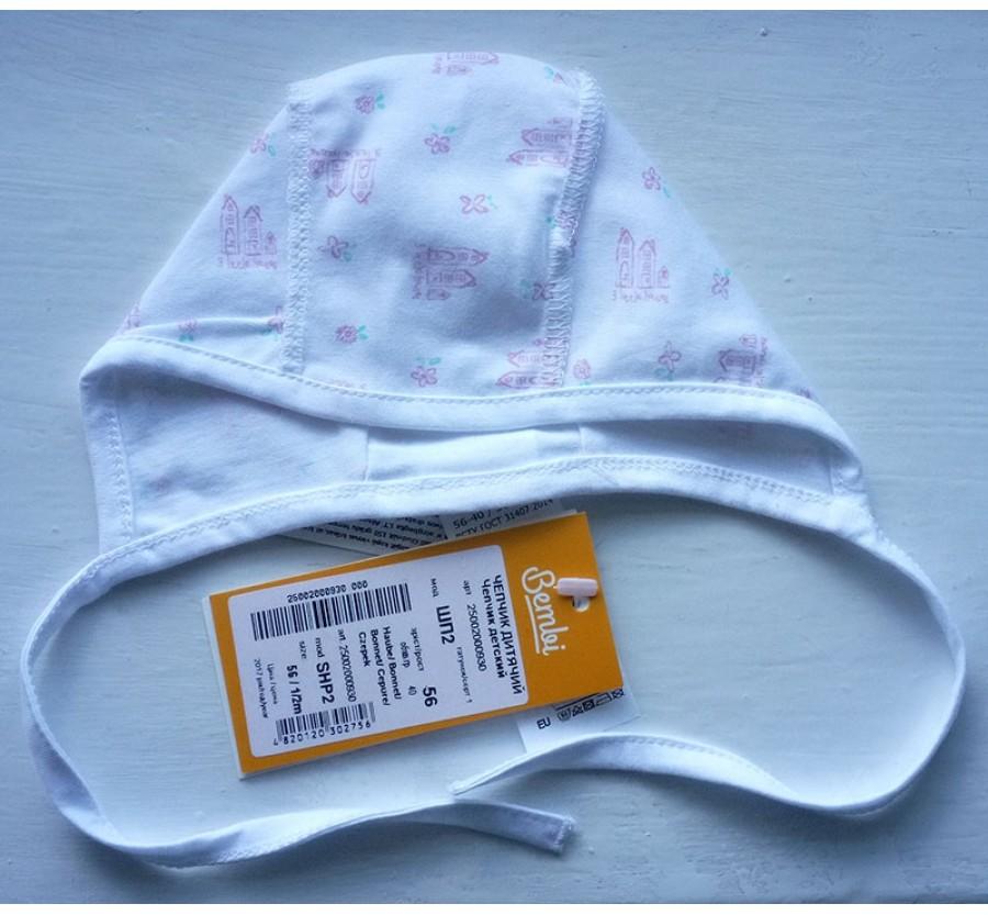 Шапочка на завязках, Бемби, Кулир, 56 см, цвет Белый с рисунком