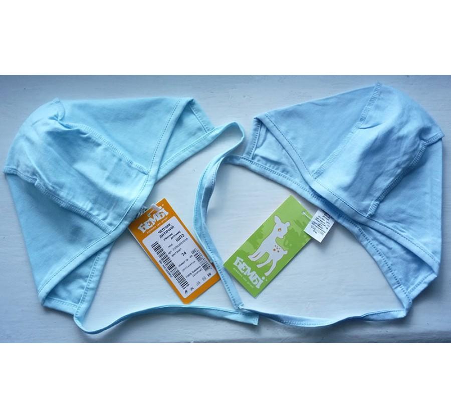Шапочки на завязках, Бемби, Кулир (тонкий Трикотаж хлопок 100%), 74 см, цвет Бирюзовый, Голубой