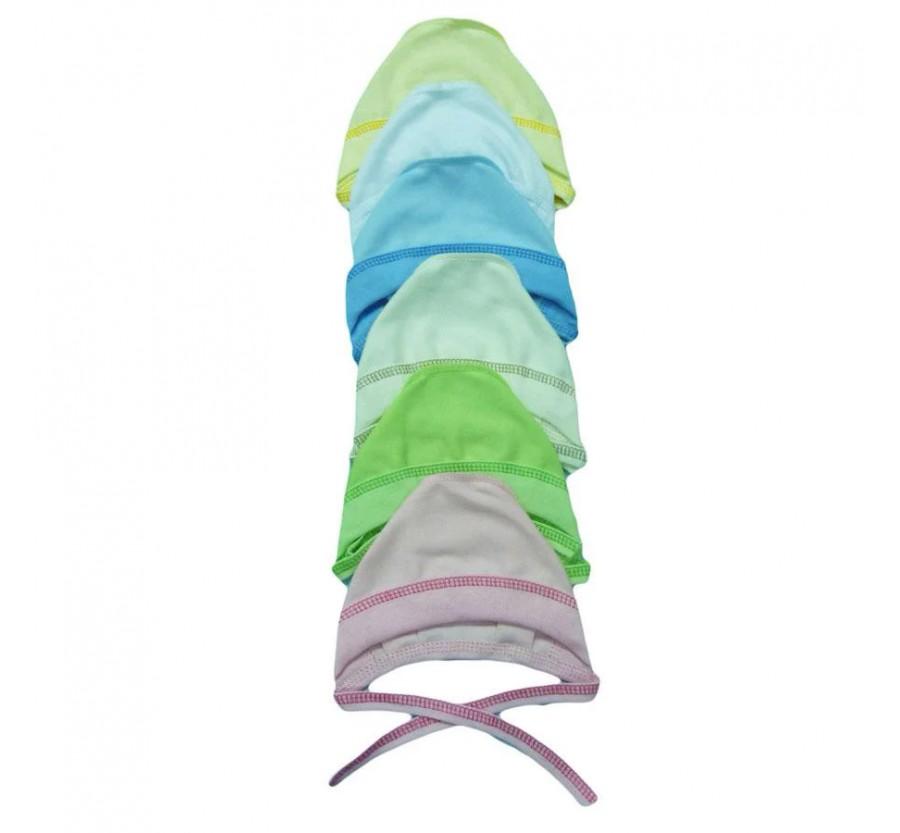 Шапочка на завязках, интерлок, цвет Белый, Голубой, Розовый, Молочный