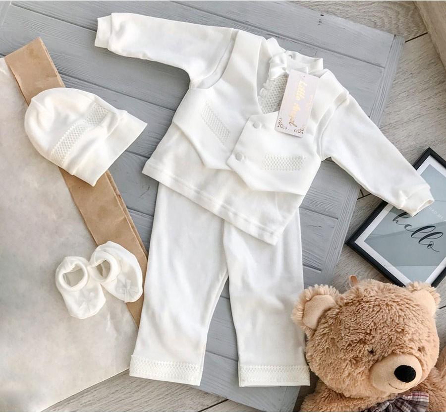 Комплект для крещения мальчика «Прованс», Интерлок, 62 см Молочный (от 0 до 3мес.)