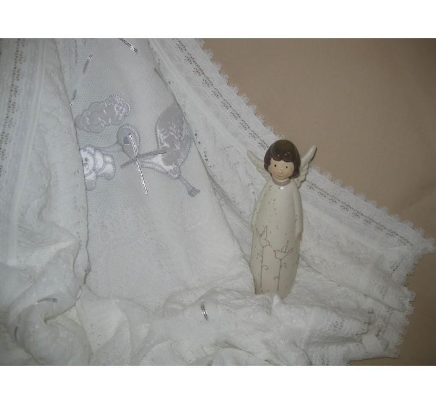 Крыжма-плед вязаная на меху «Аист с мишкой». Молочная